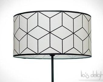 Abat-jour géométrique scandinave noir et blanc 45 cm, Abatjour, Abat jour