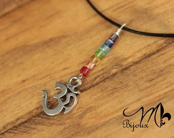 Leather necklace OM with 7 chakra colors