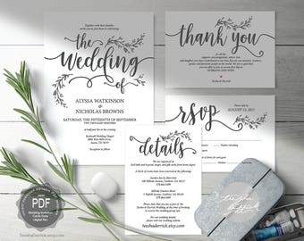 We do wedding invitation cards suite instant download pdf rustic wedding invitation cards suite instant download pdf editable template kraft calligraphy botanic floral design theme set ted4181a stopboris Choice Image