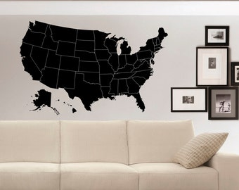 US Map with States Wall Decal Sticker- United States Map Wall Decal for Home- American Map Vinyl Wall Decal- Us Map Wall Decor C050