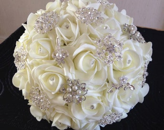 Ivory Foam Rose Brooch Bouquet