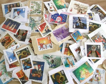 Christmas Stamps on Paper, British Holiday Postage Stamps | Christmas Topical Thematic Mix, Used GB Postal Stamps | Decoupage, Collage etc
