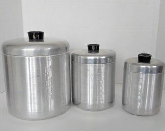 VINTAGE Metal Canister Set,  Retro Canisters,  Flour, Tea, and Coffee Canisters, 1960's Kitchen Decor.
