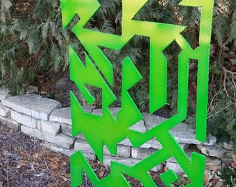 Vibrant Green Geometric Metal Sculpture