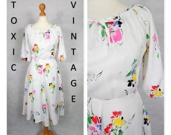 VINTAGE 1970'S 1980's White Floral TEA DRESS, Uk 12, Boho, Pretty, Retro, Geek Chic, Country