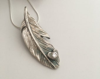 Silver Angel Feather Necklace with Crystal Heart Setting -Silver Feather Necklace - Angel Feather Necklace