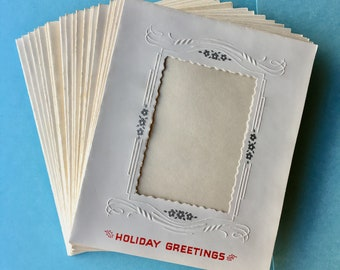 1950's Christmas Photo Greeting Cards // Boxed Set - 25 Cards/25 Envelopes // Retro Mid-Century Holiday Greetings