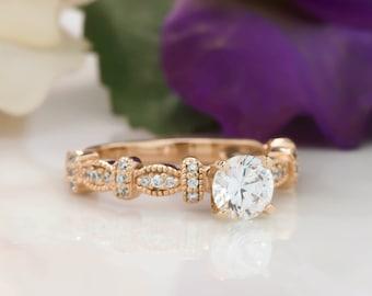 Cadre pour toujours un Moissanite bague de fiançailles diamant Vintage
