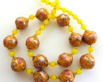 Stunning  old Venetian Fiorato Wedding Cake beads necklace-Yellow/gold beads with turquoise floret & pink-antique Italian treasure-art.552/4