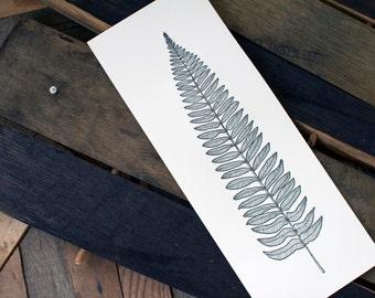 Fern Illustration Letterpress Art Print - botanical, nature, plant, woodsy, woodland, folk, leaf, black and white, set of three, wall art
