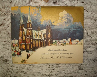 "Early 1900's Vintage Christmas Card ""Church in City""  Card  #19"