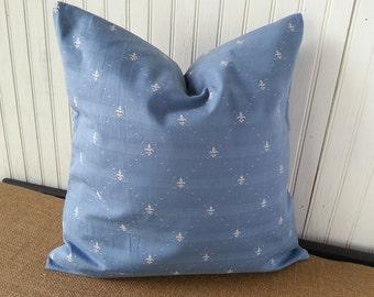 Fleur de Lis Pillow - Fleur de Lis Decor - Fleur de Lis Gift - French Pillow - Blue Pillow - Embroidered Fleur de Lis  - French Country
