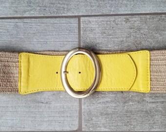Women's yellow elastic waist belt