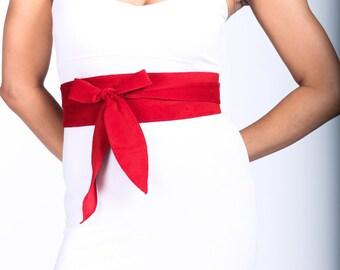 Bright Red Suede Obi Tulip Tie Belt | Waist Belt | Suede Tulip Tie Belt | Real Suede Leather Belt| Handmade Belt | Plus size belts