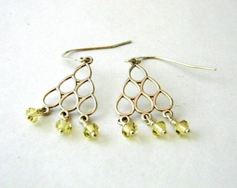 Sterling Silver Pear Chandelier Earrings with Yellow Beads