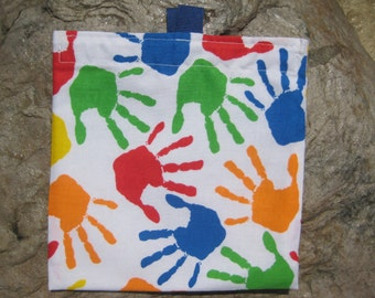 Colorful Hands Reusable Sandwich Bags, Reusable Snack Bags, Washable Treat Bag, Eco Friendly Fabric Snack Bag with easy open tabs