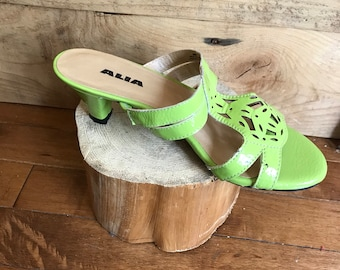 Sandals - shoes - moss green - leather - heels - lace