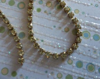 2mm Yellow Rhinestone Chain - Brass Setting - Jonquil Yellow Preciosa Czech Crystals