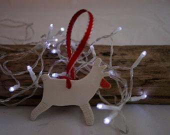 Christmas tree decoration Porcelain Raindeer
