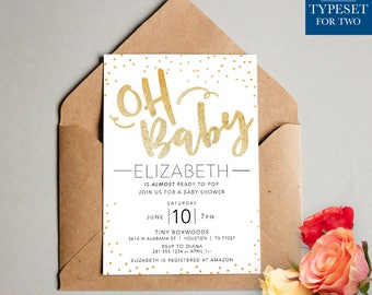Oh Baby Shower Invitation - Baby Shower Invite - Gold - Gold and Black - Gold Dots - Printable Invitation - Digital File Only