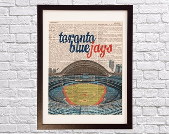 Toronto Blue Jays Dictionary Art Print - Rogers Centre / Center - Print on Vintage Dictionary Paper - Baseball Art, Toronto Ontario