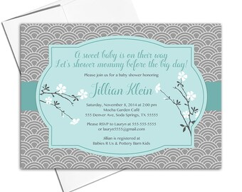 gray and mint baby shower invite printable - gender neutral baby shower invitations - asian cherry blossoms - WLP00749