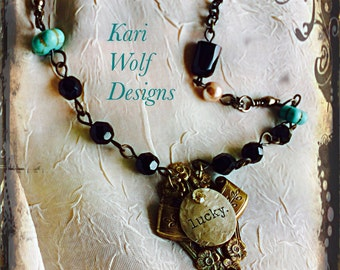 "Angel, Cameo, Necklace, ""Lucky""Angel, Cherub, Doll Head,  Statement Necklace Hand Made By: Kari Wolf Designs"