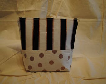 Two Fabric Makeup Bag - Rose Gold Dots and Stripes