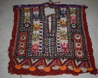 Indian Vintage Neck Yoke Embroidery OF Beads Work And Mirror work Handmade Applique Patch Sewing craft, cotton fabric neck yoke 202