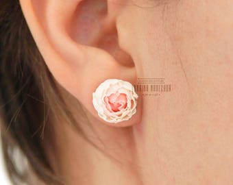 Soft pink polymer clay peony flower stud earrings perfect everyday womens jewellery