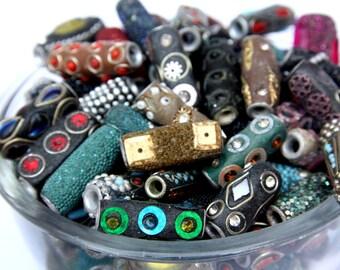 Assorted Lot of Tribal Barrel/Tube Beads Ethic Design 200 grams