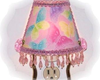 Pink Sparkly Glitter Multi Color Butterflies NIGHT LIGHT Girlie Girls Room Decor