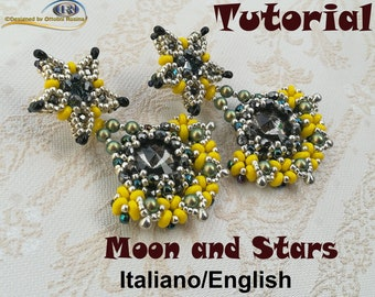 Moon and Stars Earrings ( PDF Beading tutorial in Italian or in English ONLY)