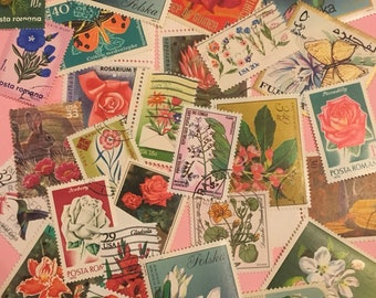 Roses, and miscellaneous flowers on stamps