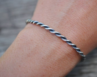 Twisted Silver Wire Cuff | Sterling Silver
