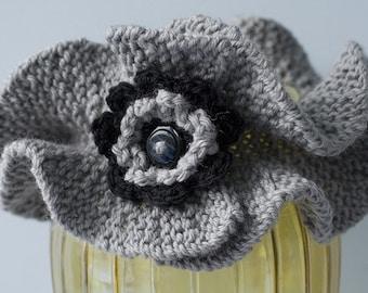 Ruffle Neck Warmer, Hand Knit Scarf,  Gray Neck Warmer, Button Neck Warmer, Flower Scarf, Vegan Scarf, Gray Black Cowl Scarf