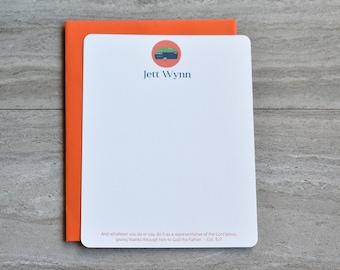 Personalized Christian Stationery Set | Flat Note Cards |  Scripture Stationery | Vintage Camper | Camping RV | Orange | Set of 12+Envelopes