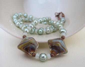 Pearl Necklace, Mint Green Pearls, Copper Necklace, Lampwork Glass, Rusty Brown, Pale Green, Beaded Necklace