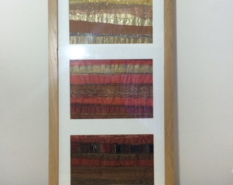Abstract Textile Triptych in Shades of Creams, Oranges, Golds and Browns