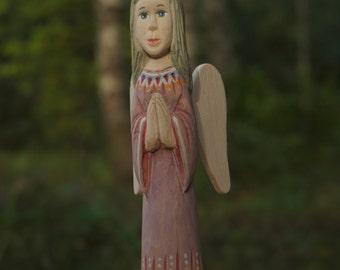 OOAK hand carved wooden angel, Angel sculpture, folk art, Angel, Angel figurine, Baptism gift