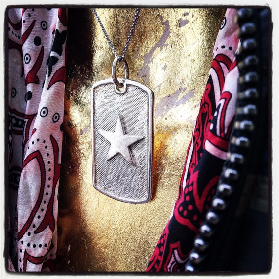 Etherial Jewelry Rock Chic Talisman Luxury Biker Custom Handmade Artisan Pure Sterling Silver .925 Handcrafted Badass Star Dog Tag Pendant