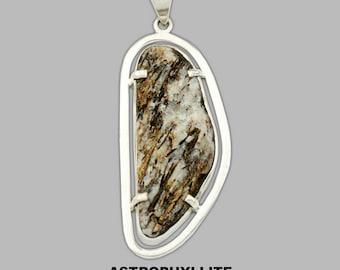 RARE Astrophyllite Stone Pendant |Golden Brown White Black Astrophyllite Gemstone Pendant | .925 Sterling Silver Pendant