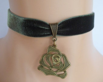 green velvet choker, rose choker, rose necklace, stretch ribbon, antique bronze, olive green