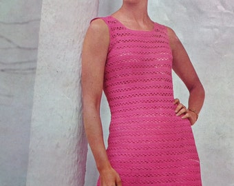 Vintage 1960s Crochet Pattern - Women's Dress Lacy Sleeveless Summer Design - 60s original pattern Patons 5026 UK