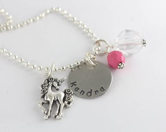Unicorn Charm Necklace - Fairy Tale Necklace - Personalized Charm Necklace for Girl - Custom Unicorn Necklace - Magical Pony Necklace