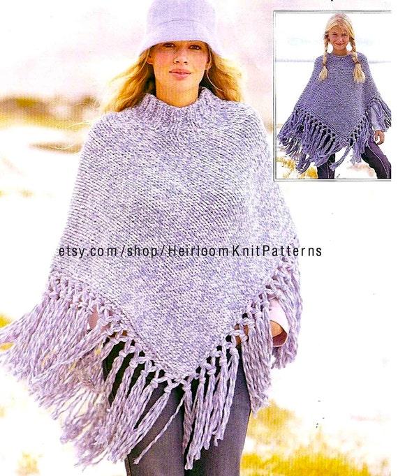 Chunky Poncho Knitting Pattern Girls Womens Poncho Pattern 7 Years
