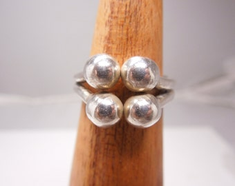 Sterling Silver Mid-century Four Sphere Ring