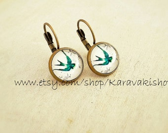 Swallows - Drop swallow bird earrings - Swallow earrings - Bird jewelry - Spring fashion - Gift for her - Spring gift- Trending looks