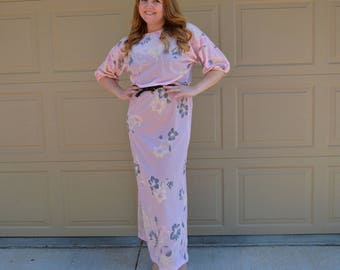 70s Blush Pink Maxi Dress Disco Dress Gray and Ivory Floral Print Long Dress Size Medium 70s Clothing Epsteam