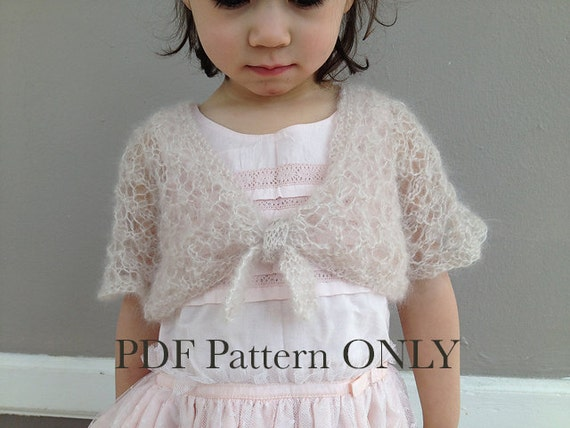 Girl Shrug Knitting Pattern Pdf Toddler Cardigan Spring
